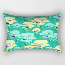 Pattern with fishermen in boats (green version) Rectangular Pillow