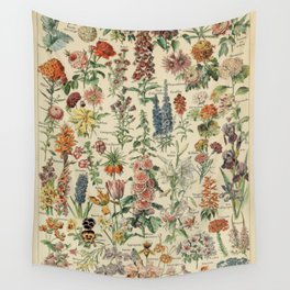 French Vintage Flowers Chart Adolphe Millot Fleurs Larousse Pour Tous Poster  Wall Tapestry