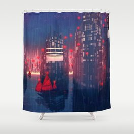 Fantastic Super Modern Freight Harbour City By Cartoon Scenery Ultra High Resolution Shower Curtain