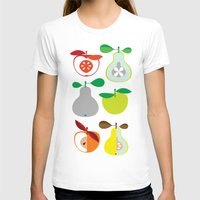 50s T-shirts featuring Apples and Pears / Geometrical 50s pattern of apples and pears by In The Modern Era