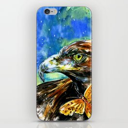 Golden Eagle And Butterfly by Kathy Morton Stanion iPhone Skin