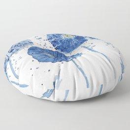 four blue dandelions watercolor Floor Pillow