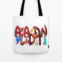 aladdin Tote Bags featuring Aladdin  by Mix-Master
