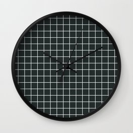 Charleston green - grey color - White Lines Grid Pattern Wall Clock