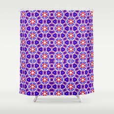 Red, White and Blue Spirals 239 Shower Curtain