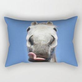 Horse Licks Photography Print Rectangular Pillow