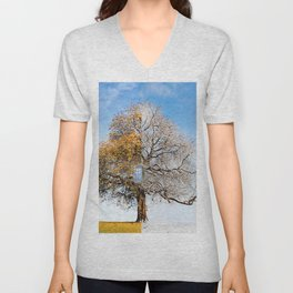 Tardis on Tree Unisex V-Neck