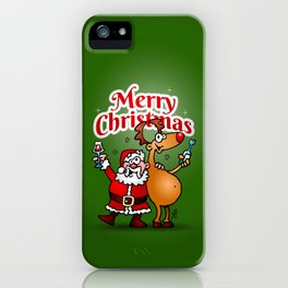 Merry Christmas - Santa Claus and his Reindeer iPhone Case
