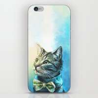 pie iPhone & iPod Skins featuring Handsome Cat by Alice X. Zhang