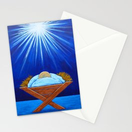 Christmas Baby Jesus in Manger with North Star Stationery Cards