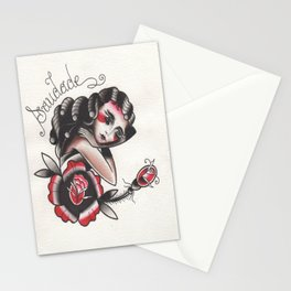 Saudade Traditional Watercolor Tattoo Flash Stationery Cards