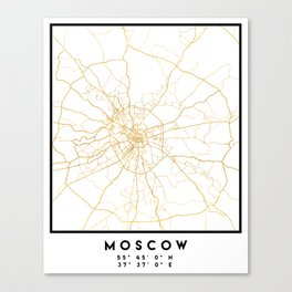 MOSCOW RUSSIA CITY STREET MAP ART Canvas Print