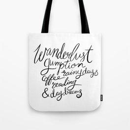 Wanderlust Words - Black Brush Lettering Tote Bag