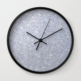 Silver Metallic Sparkly Glitter Wall Clock