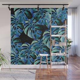 Monstera Pattern Blue On Chalkboard Wall Mural