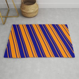 Dark Orange and Dark Blue Colored Lines Pattern Rug