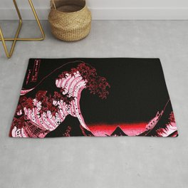 The Great Wave : Red & Black Rug