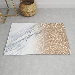 Bronze Copper Gold Glitter White Gray Marble Luxury III Rug