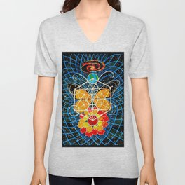 Butterfly Space Flower Galaxy Tapestry Painting Visionary Psychedelic Art (Sacred Feminine) Unisex V-Neck