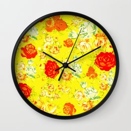 Vintage Inspired Floral with Red, White, and Orange on Yellow Wall Clock