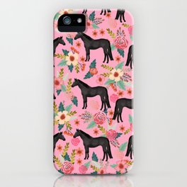black beauty, mare, horse, horses, floral, florals, black horse, horse bedding, horse decor, cowgirl iPhone Case