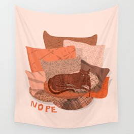 Nope -Red Lazy Cat Wall Tapestry