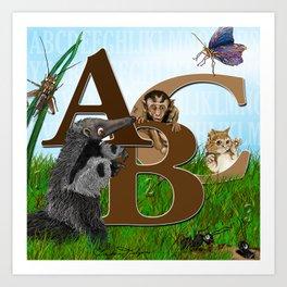 ABC nursery animal print, by Barbara Kilgore green, brown, blue Art Print