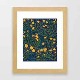 Golden flowers Framed Art Print