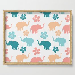cute colorful pattern with elephants and flowers Serving Tray