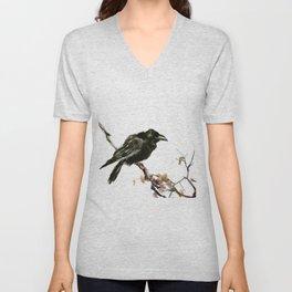 Raven, Raven art, Raven Design, Crow painting Unisex V-Neck