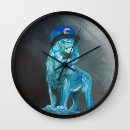 Art Institute Lion Wears Cubs Hat Wall Clock