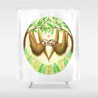 sloths Shower Curtains featuring Sloths in Love by Kirsten Sevig
