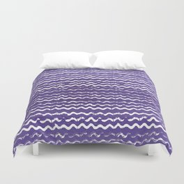 Abstract violet white watercolor geometrical chevron zigzag Duvet Cover
