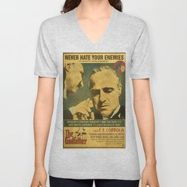 retro the godfather poster - never hate your enemies Unisex V-Neck