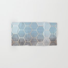 honeycomb winter forest // copper & blue Hand & Bath Towel