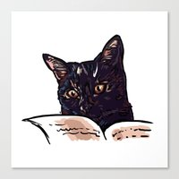 ripley Canvas Prints featuring Ripley Reads by Helenasia