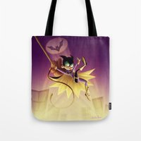 batgirl Tote Bags featuring Batgirl by The Art of Eileen Marie