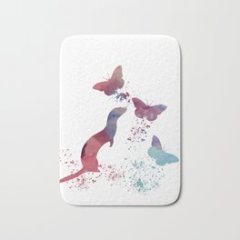 Ferret and butterflies Bath Mat