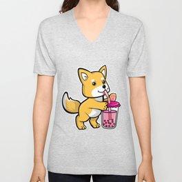 Cute Shiba Bubble Tea Unisex V-Neck