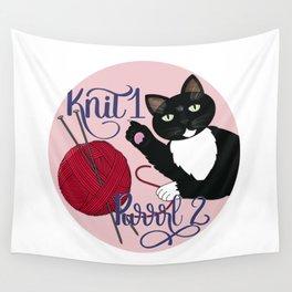 Knit 1 Purrrl 2 cat lover knitter knitting design Wall Tapestry