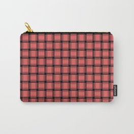 Small Light Red Weave Carry-All Pouch