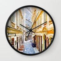 vienna Wall Clocks featuring vienna, watercolors by MehrFarbeimLeben