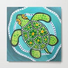 Funky Green Turtle Metal Print