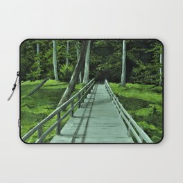 Bridge in the Woods Painting, Print of Original Art, Path in the Forest Art Print, Laptop Sleeve
