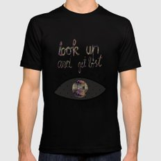 Look up and get lost  MEDIUM Black Mens Fitted Tee
