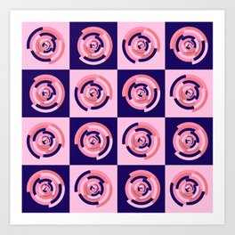 Spinning colourful rings on blue and pink chessboard Art Print