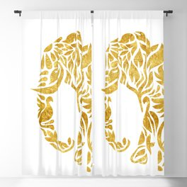 Floral Elephant in Gold Blackout Curtain