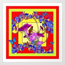 Red & Yellow Morning Glory Vines & Blue Butterflies Art Art Print