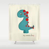 dino Shower Curtains featuring Dino by Jane Mathieu