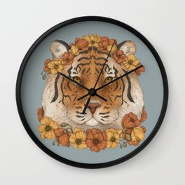 Tiger and Flowers Wall Clock